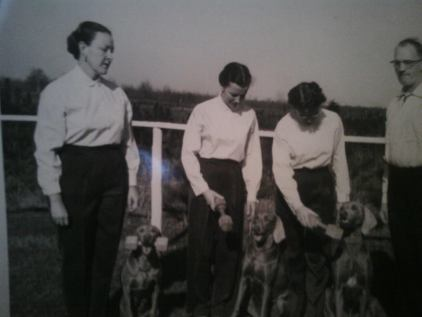 My Grandmother, Beverly Jordan, is the one on the far left. She bred, trained and showed dogs for many years.