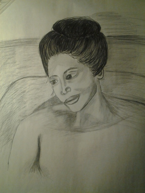 Michele Ashbaugh inspired this piece. I added a bit more decolletage to the final picture. (Charcoal on Newsprint)