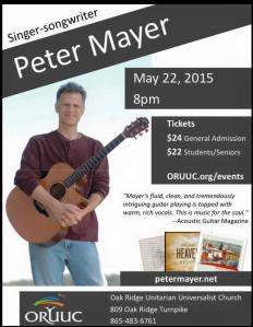 Peter Mayer is performing in Oak Ridge, TN tonight! WOOT!