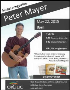 Peter Mayer is performing in Oak Ridge, TN tonight! WOOT!