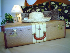 A happy suitcase wearing a hat
