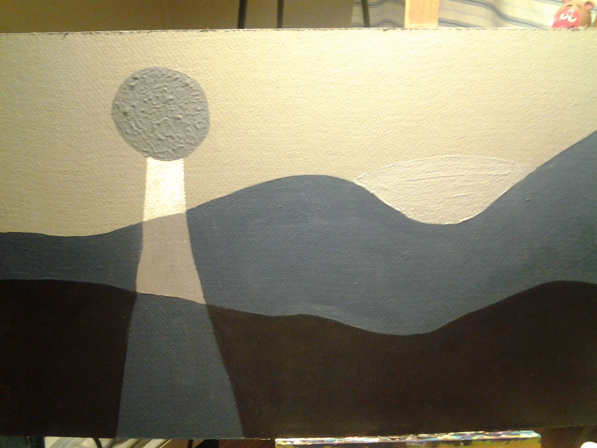 Martian Sunset by Mare Martell 2015 15X30 Acrylic on Board FOR SALE!