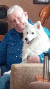 My dad, Dave Looney Sr, and his dog Apollo.
