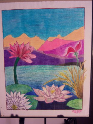 Lillies of the Water, colored pencil, paper