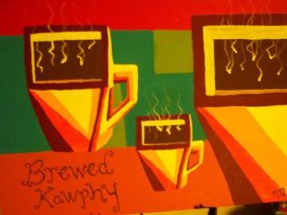 Brewed Kawphy, acrylic, board