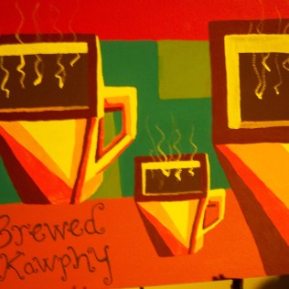 Brewed Kawphy, acrylic, board