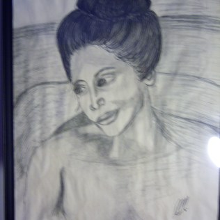 Bathing Woman, charcoal, paper