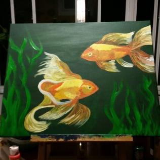 Goldfish, acrylic, canvas