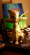 Cat with Fish, paper mache